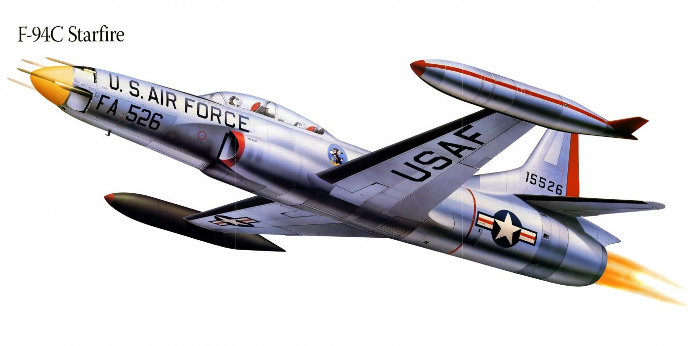 F-94C Starfire military war art painting airplane aircraft weapon fighter d wallpaper