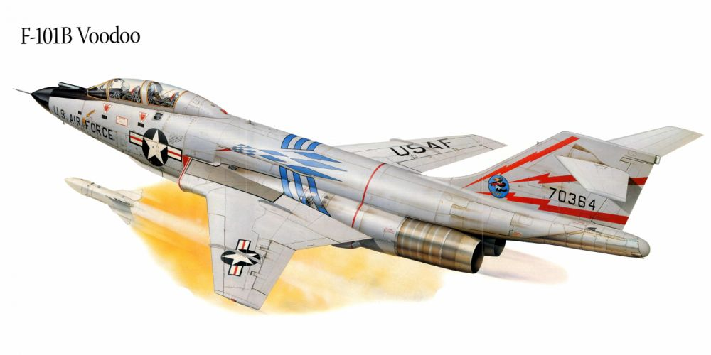 F-101B Voodo military war art painting airplane aircraft weapon fighter d wallpaper