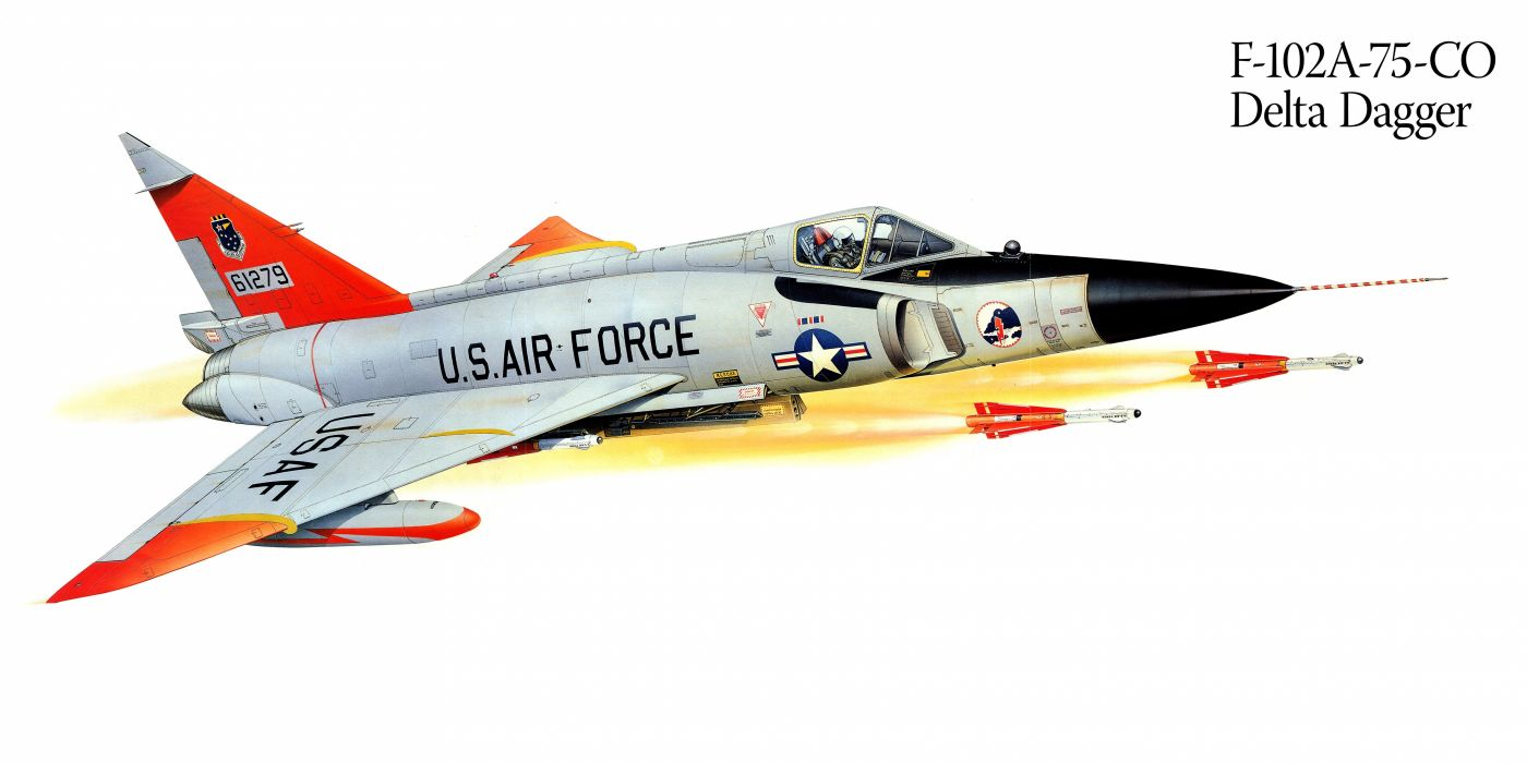 F-102A-75-CO Delta Dagger military war art painting airplane aircraft weapon fighter d wallpaper