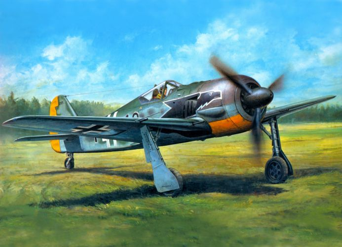 focke wulf fw190a3 military war art painting airplane aircraft weapon fighter d wallpaper