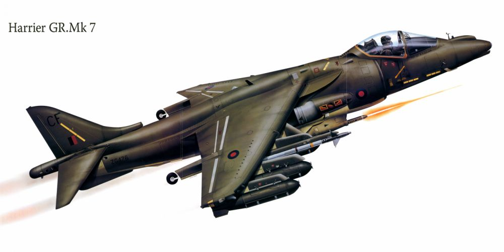 Harrier GRMk7 military war art painting airplane aircraft weapon fighter d wallpaper