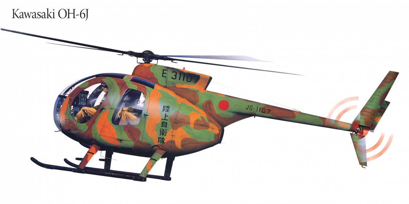 Kawasaki OH-6J military helicopter aircraft f wallpaper