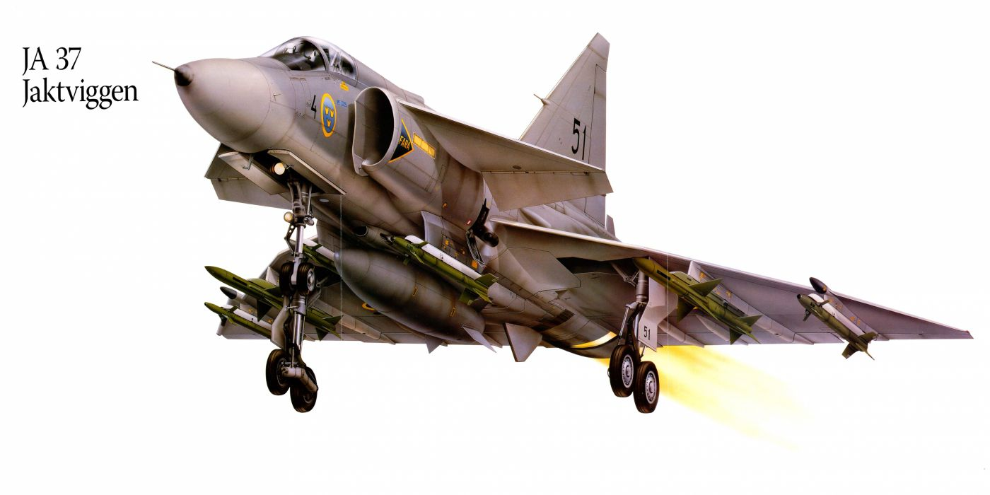 JA37 Jaktviggen military war art painting airplane aircraft weapon fighter d wallpaper