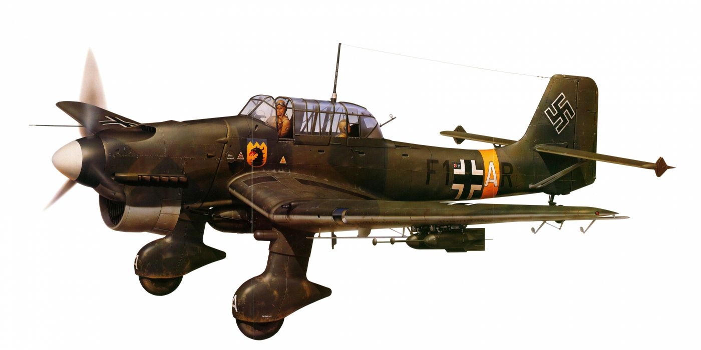 Junkers Ju-87 military war art painting airplane aircraft weapon fighter d wallpaper