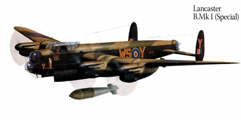 Lancaster BMKI military war art painting airplane aircraft weapon fighter d wallpaper