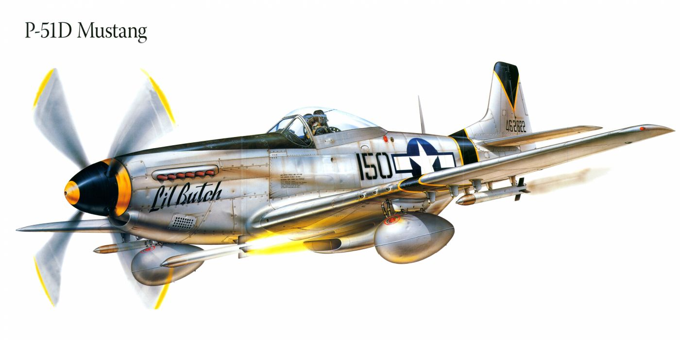 P-51D Mustang military war art painting airplane aircraft weapon fighter d wallpaper