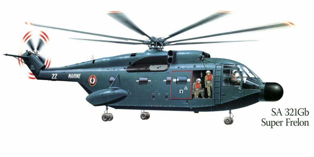 SA-321Gb Super Frelon military helicopter aircraft f wallpaper