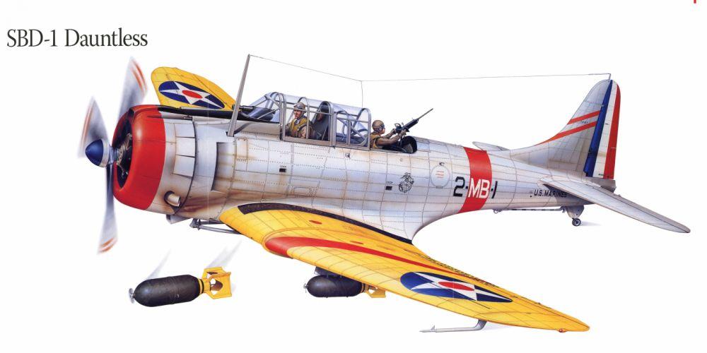 SBD-1 Dauntless military war art painting airplane aircraft weapon fighter d wallpaper