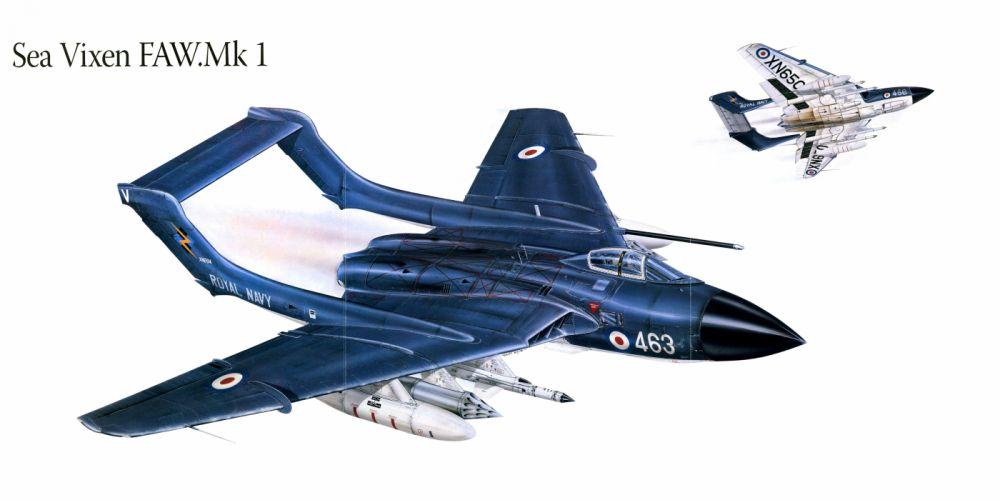 Sea Vixen FAW Mk1 military war art painting airplane aircraft weapon fighter d wallpaper