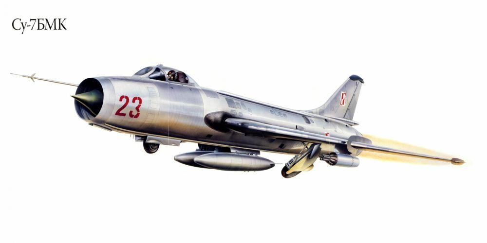 Su-7BMK military war art painting airplane aircraft weapon fighter d wallpaper