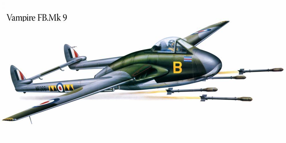 Vampire FBMk9 military war art painting airplane aircraft weapon fighter d wallpaper