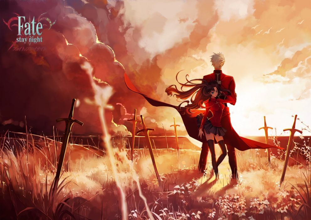 fate stay+night moon-toosaka+rin-archer-qinshou anime series swords wallpaper