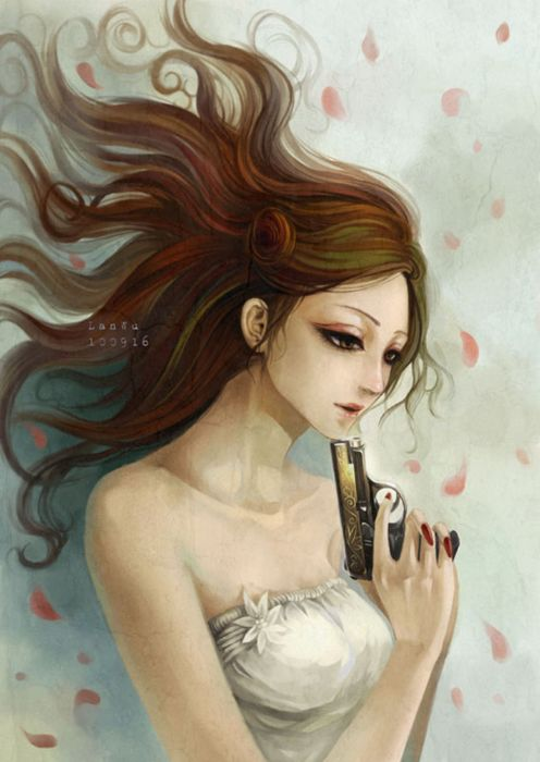 original long+hair-single weapon dress girl wallpaper