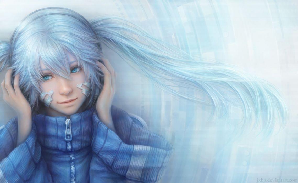 anime vocaloid girls blue eyes hair long winter headphones music wallpaper