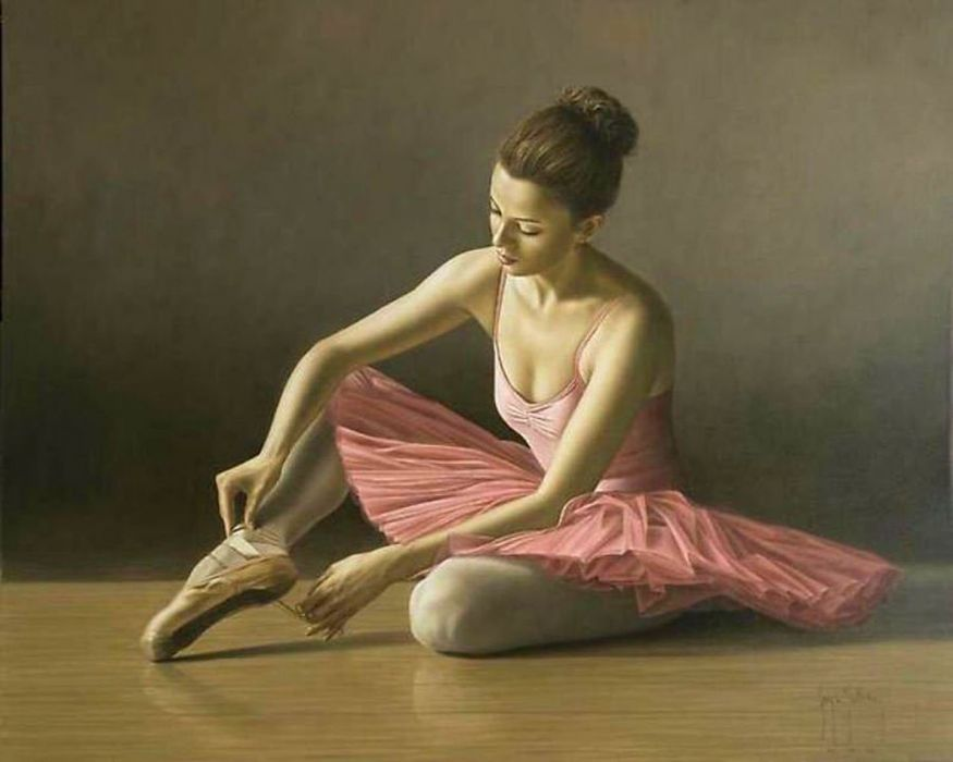 oil painting girl bale beautiful pink dress wallpaper