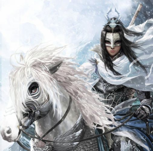 fantasy horse mask sword warrior snow winter wallpaper