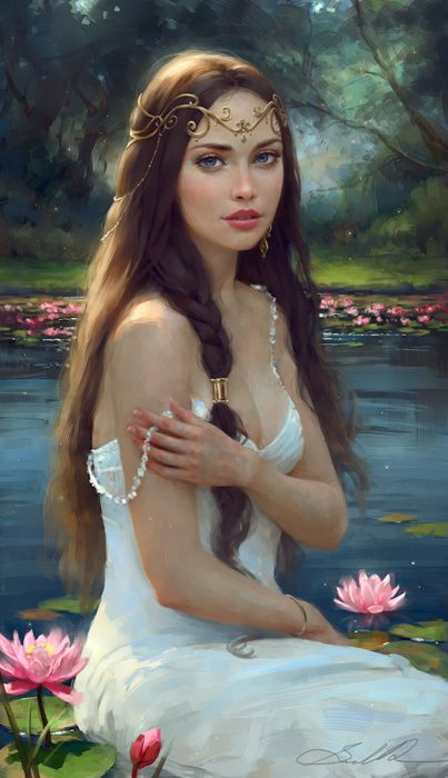 water lily dream oil painting girl beautiful dress blue eyes long hair princess fantasy wallpaper