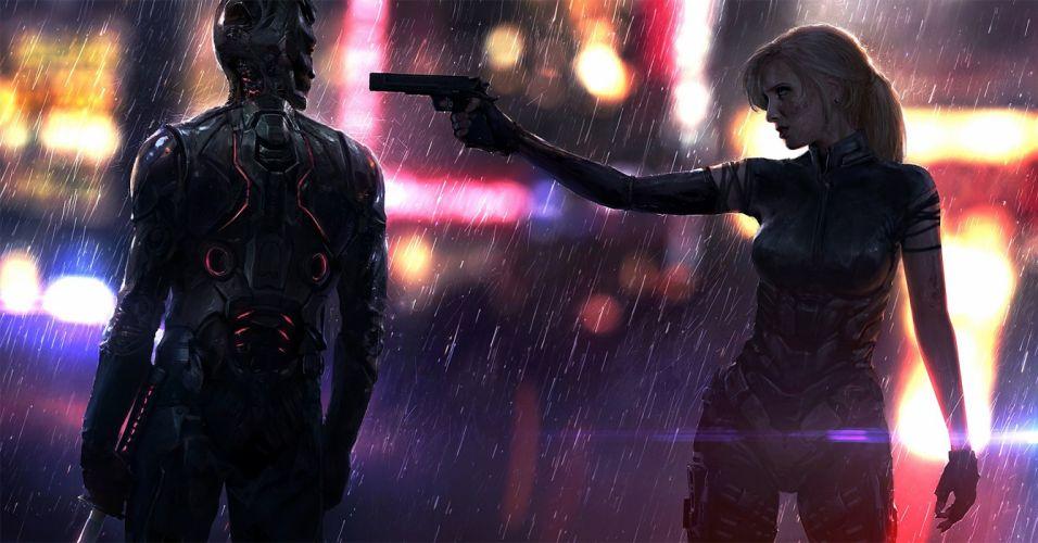 video games light girl robot male female weapon city blonde long hair light wallpaper