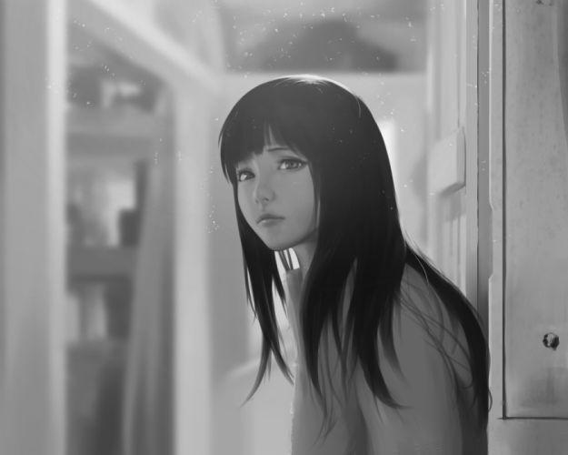 black alone girl long hair look wallpaper