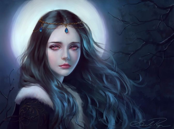 moonlight tree girl fantasy face red eyes princess long hair beautiful wallpaper