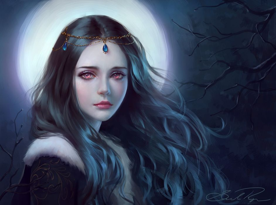 moonlight tree girl fantasy face red eyes princess long hair beautiful wallpaper