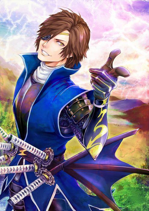 anime series date masamune warrior sword smile guy wallpaper