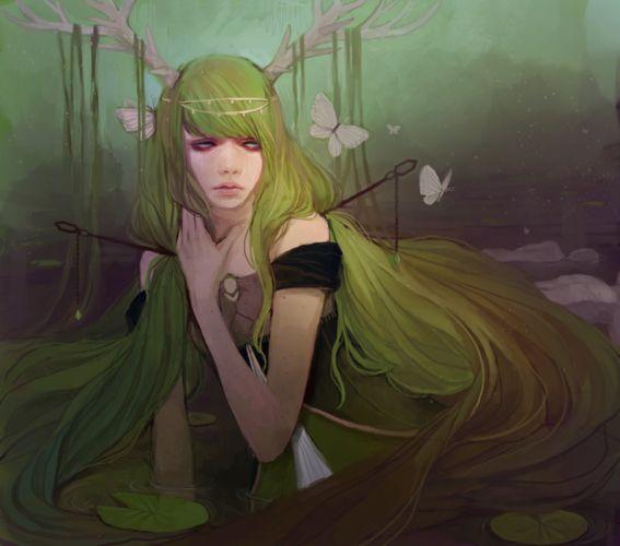 fantasy girl butterfly green hair original wallpaper