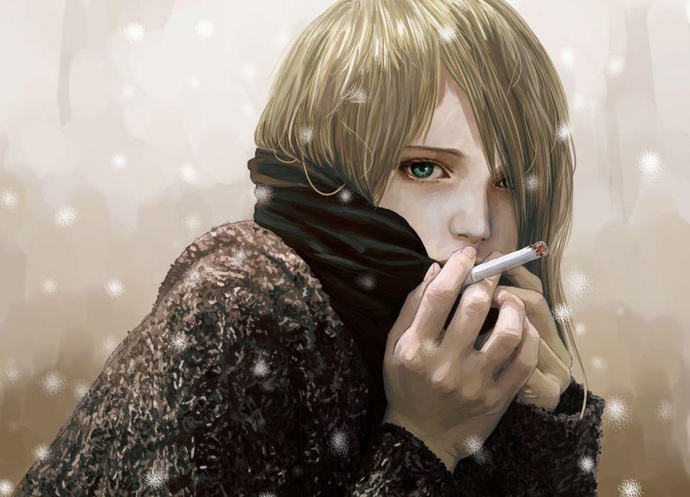 fantasy girl painting smoking snow winter blonde girl wallpaper