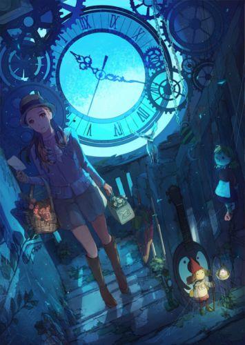 anime girl magic night flower basket original wallpaper
