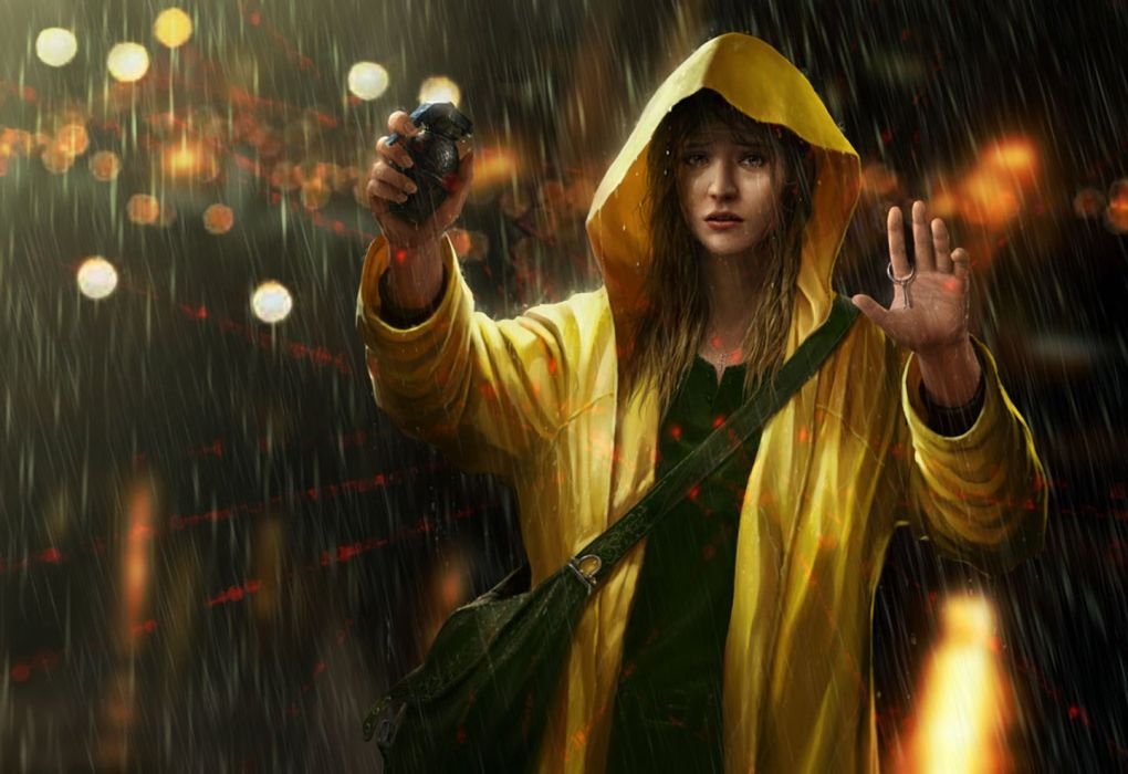 fantasy girl weapon red rain light city looking bomb wallpaper