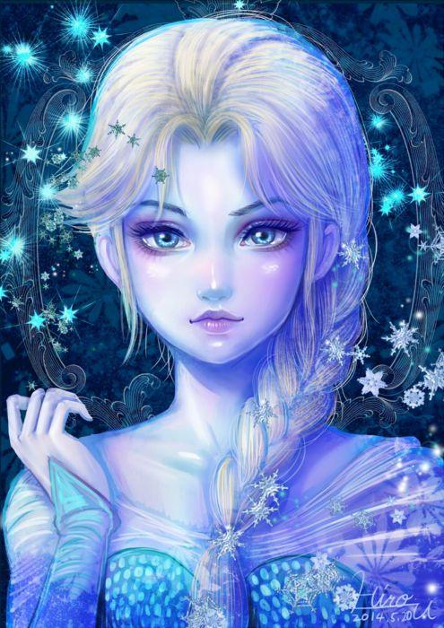 frozen disney elsa frozen long hair cartoon blue eyes Snowflake wallpaper