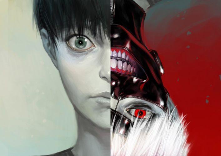 anime series tokyo+ghoul mask eyes open face boy wallpaper