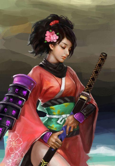samurai girl sword kimono flower hair warrior face beauty wallpaper