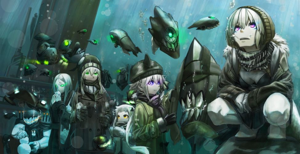 aircraft breasts bubbles cleavage destroyer hime gloves gray hair green eyes group hat kirii long hair pink eyes scarf short hair underwater water wallpaper