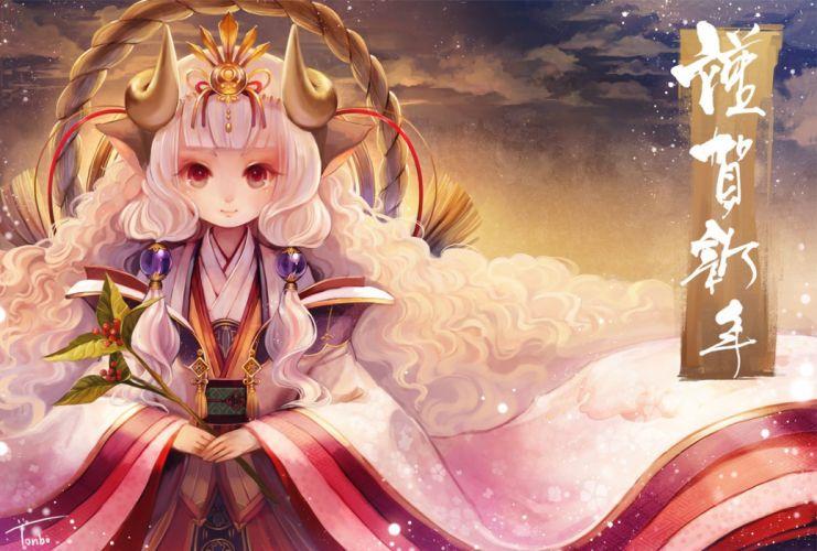 aka tonbo (lovetow) horns japanese clothes long hair original red eyes rope sheepgirl white hair wallpaper