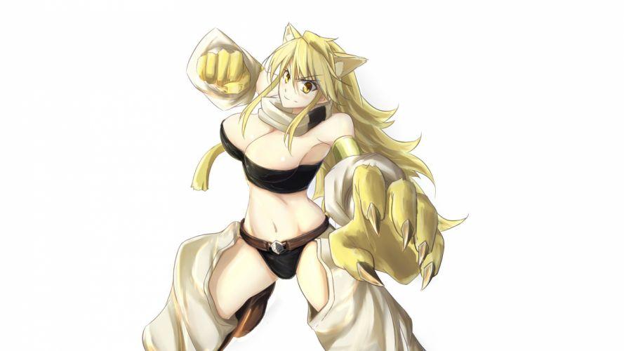 akame ga kill! animal ears blonde hair breasts catgirl cleavage karoro3rd leone long hair navel scarf white yellow eyes wallpaper