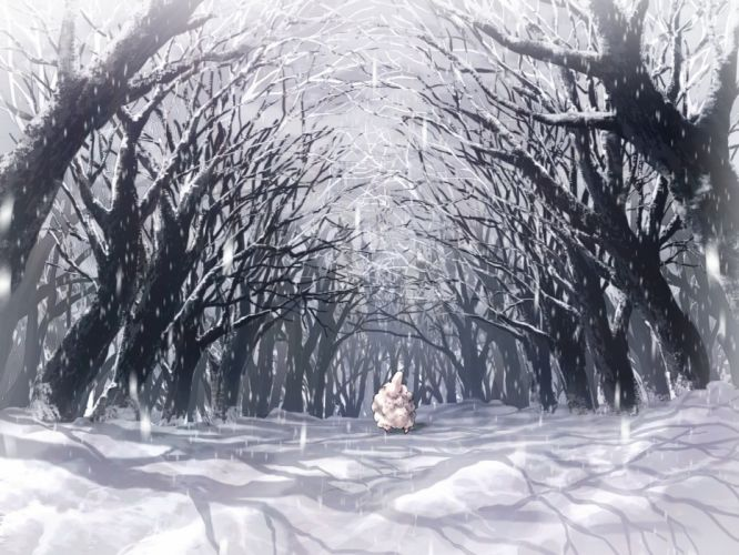 animal forest mori (m p m) nobody original scenic sheep snow tree winter wallpaper