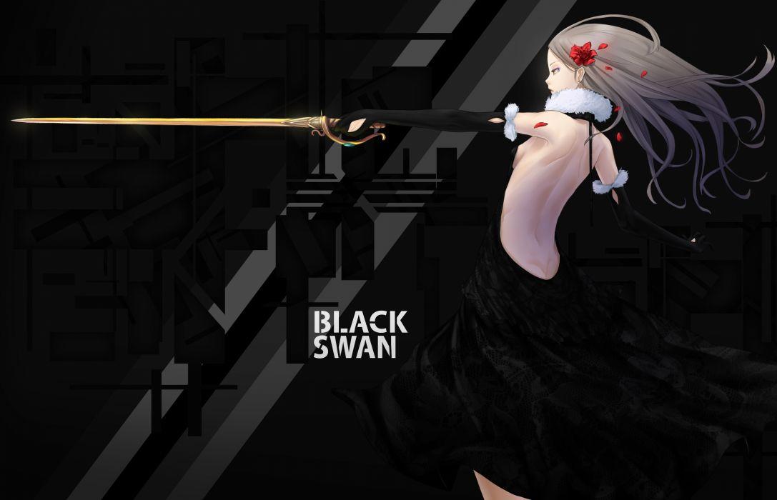 Anime Girls Black Swan trix original Dress Swords Human back wallpaper