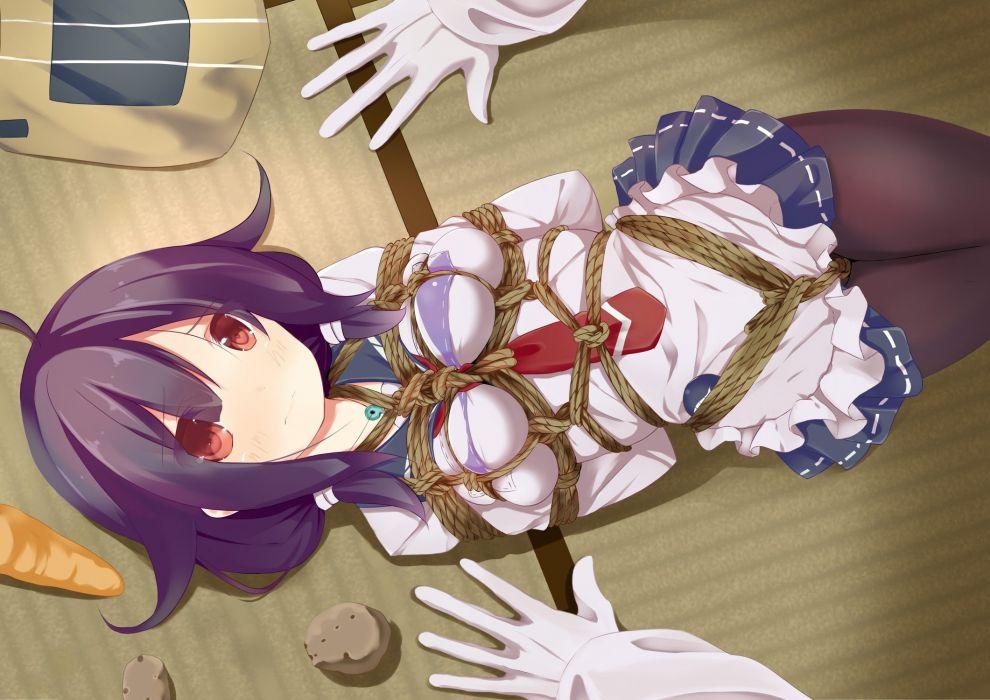 anthropomorphism blush bondage food gloves hamuta long hair necklace pantyhose purple hair red eyes rope seifuku taigei (kancolle) tie wallpaper