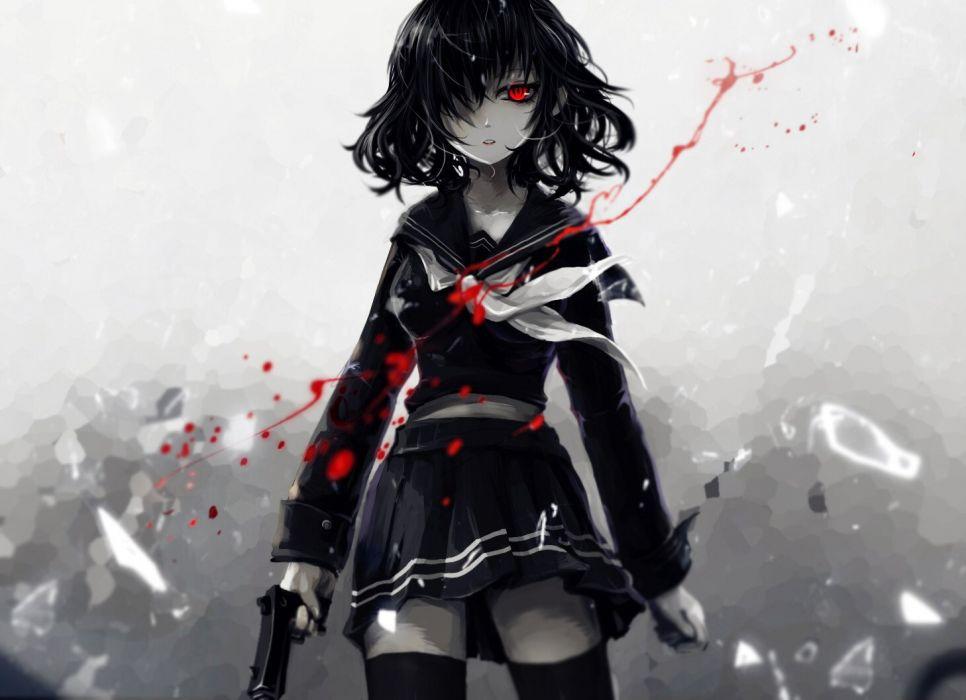 aoiakamaou black hair blood gun original red eyes seifuku short hair skirt thighhighs weapon zettai ryouiki wallpaper