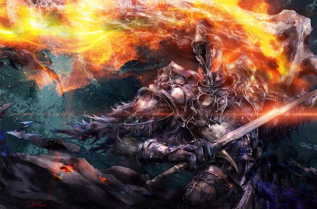 armor cape chain chikashige dark souls fire sword weapon wallpaper