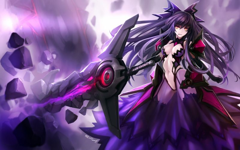 armor breasts cleavage date a live elbow gloves gloves hanshu long hair navel purple hair red eyes sword thighhighs weapon yatogami tohka wallpaper