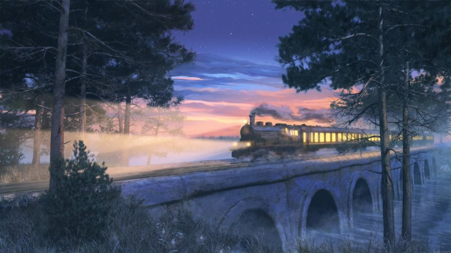 arsenixc nobody original scenic stars train tree wallpaper