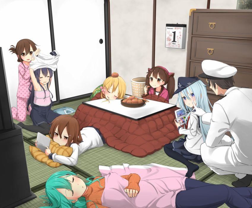 aqua hair blonde hair blush brown hair food group hat kotatsu long hair male pantyhose seifuku skirt sleeping twintails undressing uniform wallpaper
