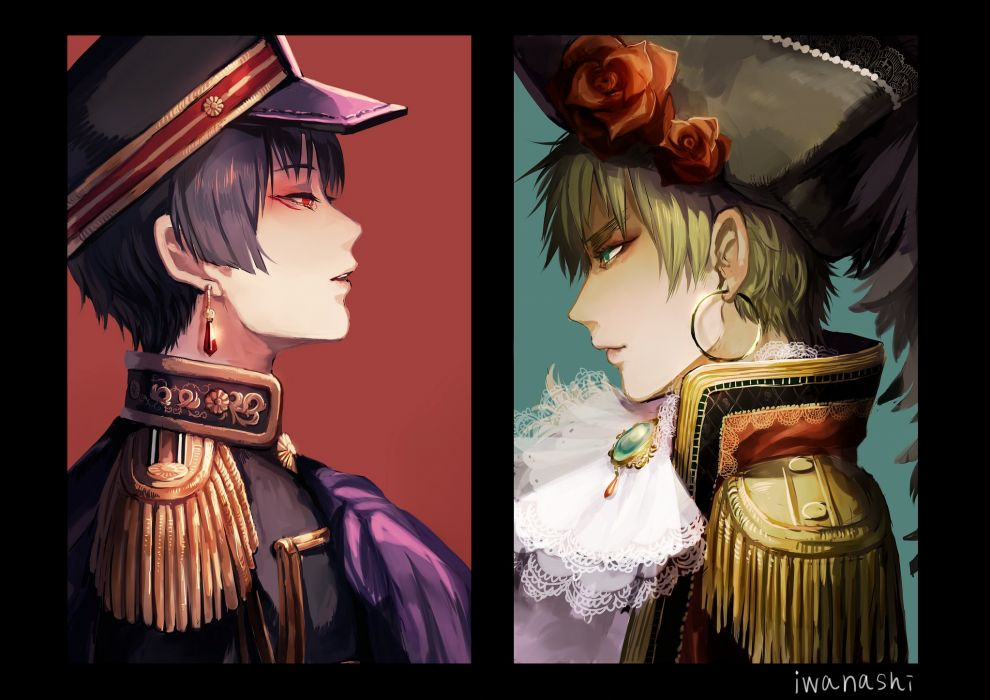 Axis Powers Hetalia United Kingdom Japan Pirate Hat Feather wallpaper