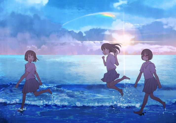barefoot brown hair clouds glasses original seifuku short hair skirt sky water yuu (plasm) wallpaper