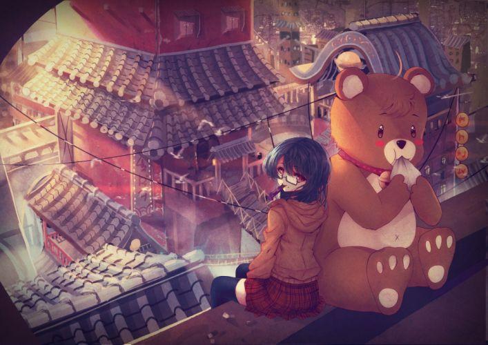 bell black hair city daikazoku63 glasses original red eyes skirt teddy bear thighhighs wallpaper