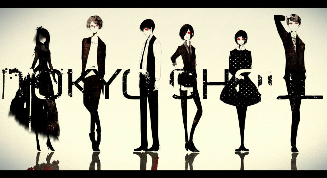 black hair brown hair dress glasses group i m kaneki ken long hair male red eyes shirt short hair skirt suit thighhighs tie tokyo ghoul tsukiyama shuu wallpaper