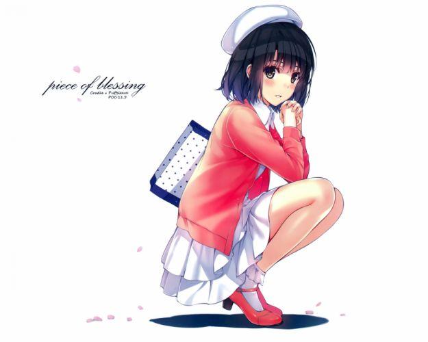 black hair hat katou megumi misaki kurehito petals saenai heroine no sodatekata short hair skirt white wallpaper