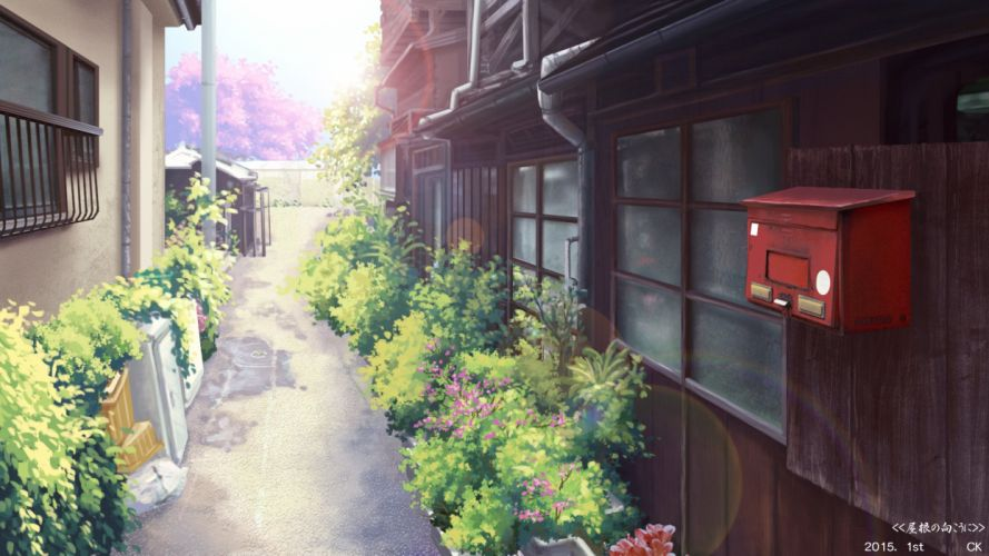 building cherry blossoms flowers leaves nobody original scenic yuuko-san wallpaper